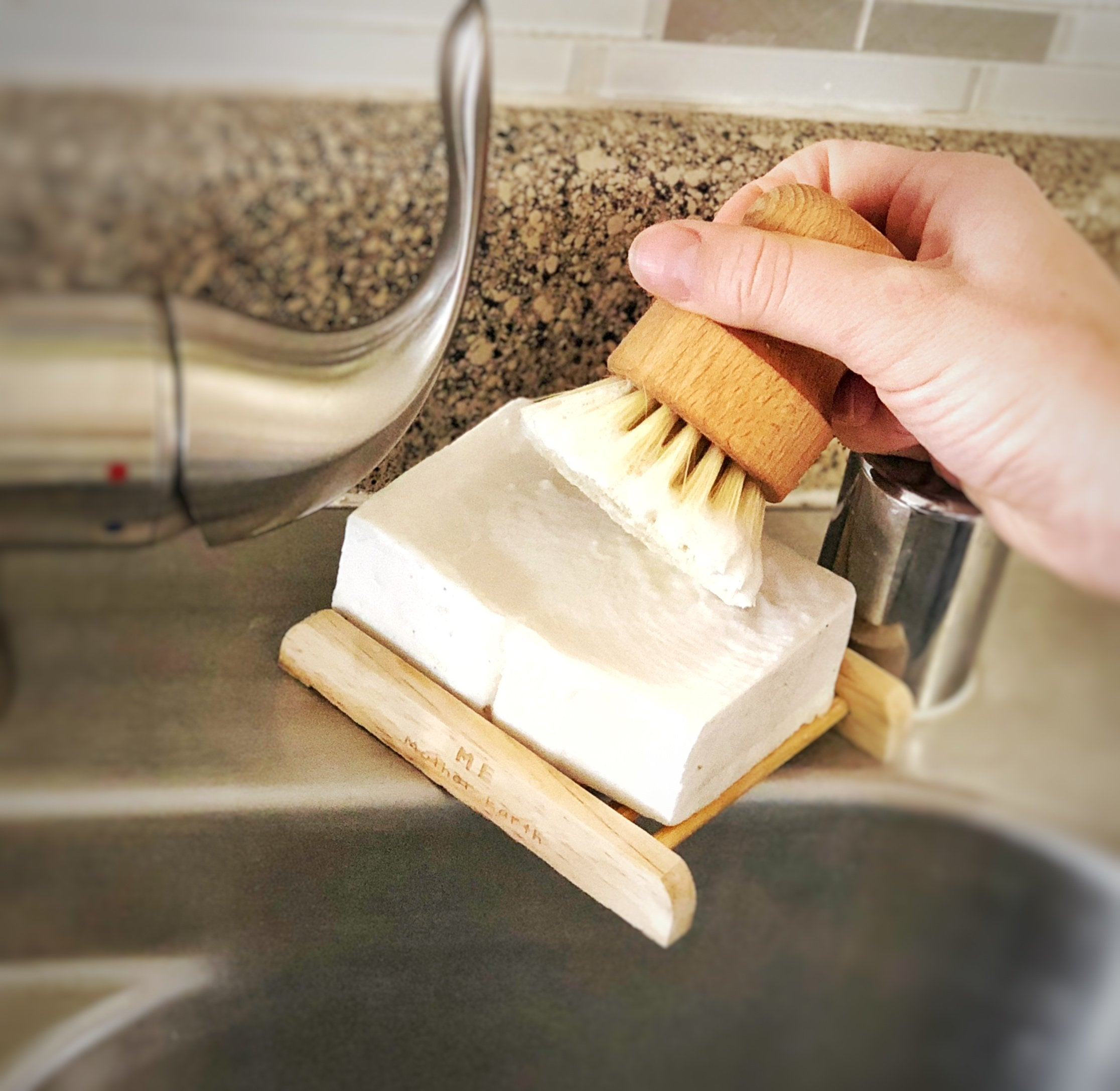 cleaning brush with soap