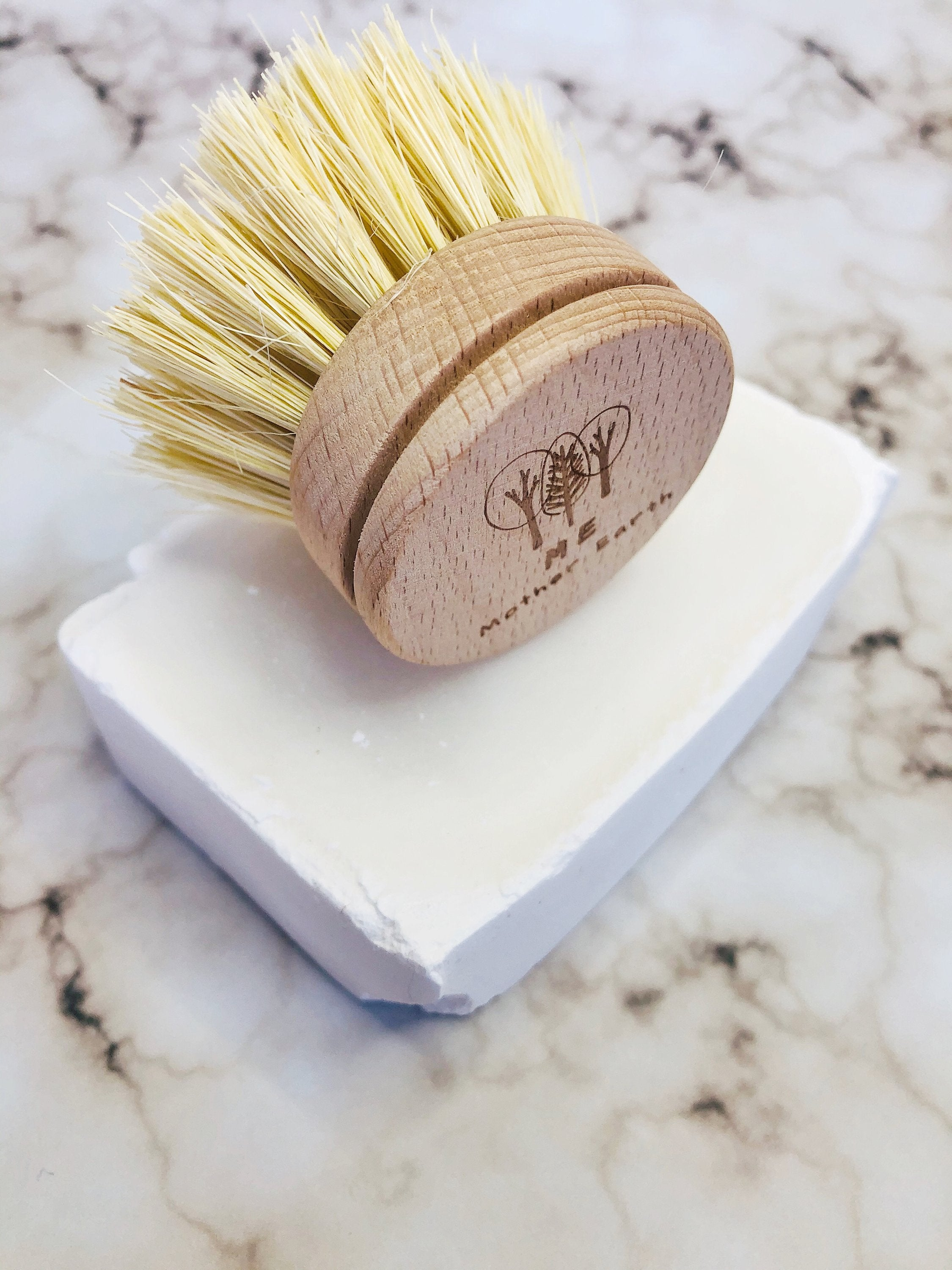 brush replacement head on white bar of soap