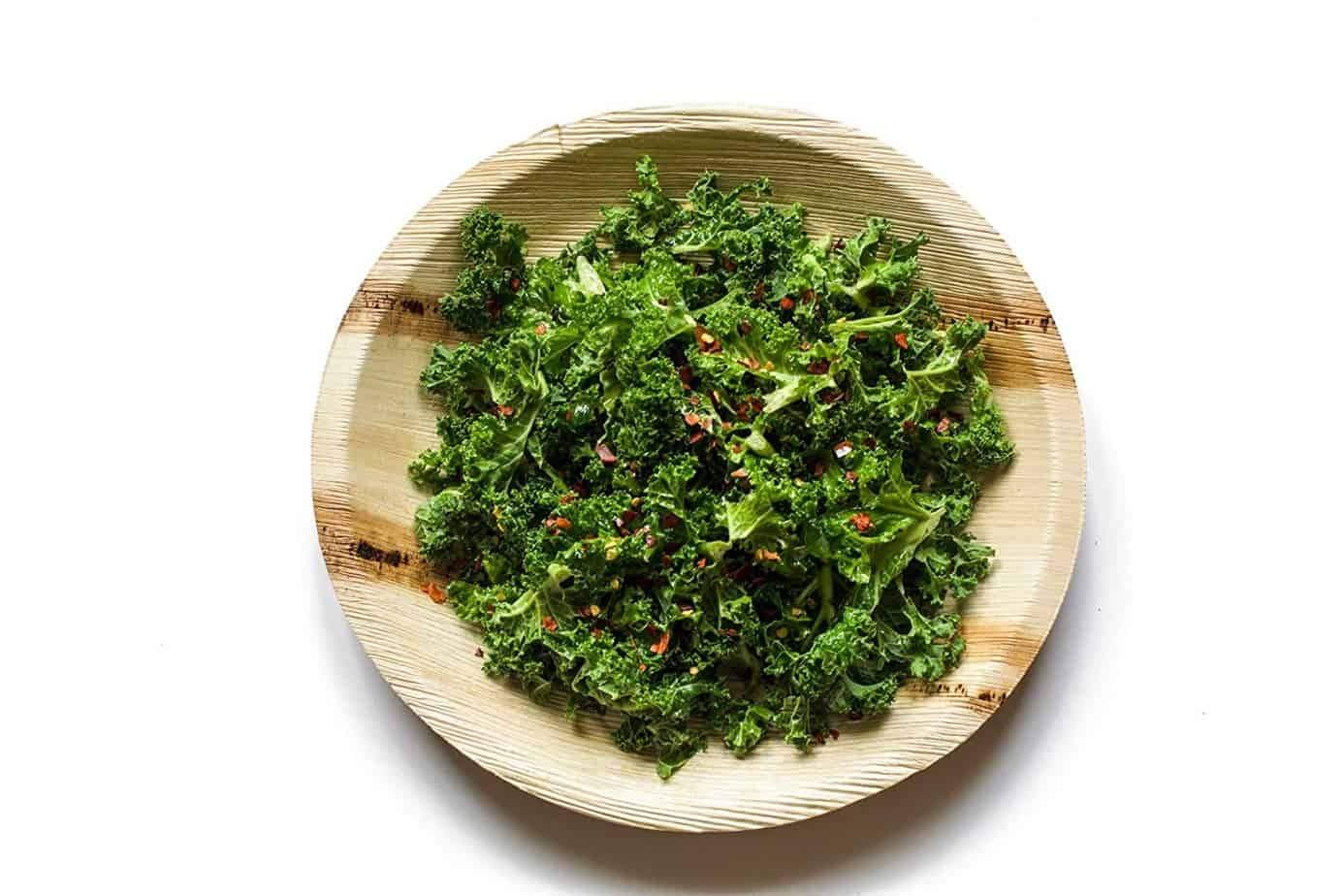 round palm lead plate with kale salad