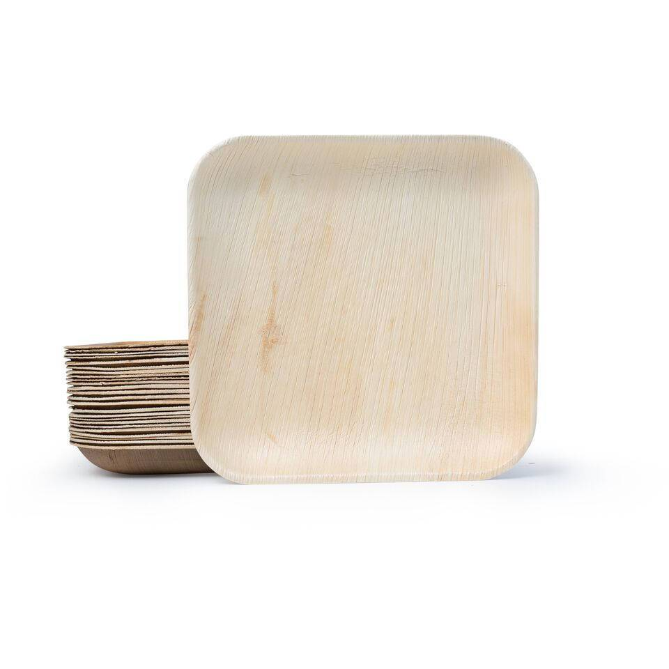 stack of square palm leaf plates