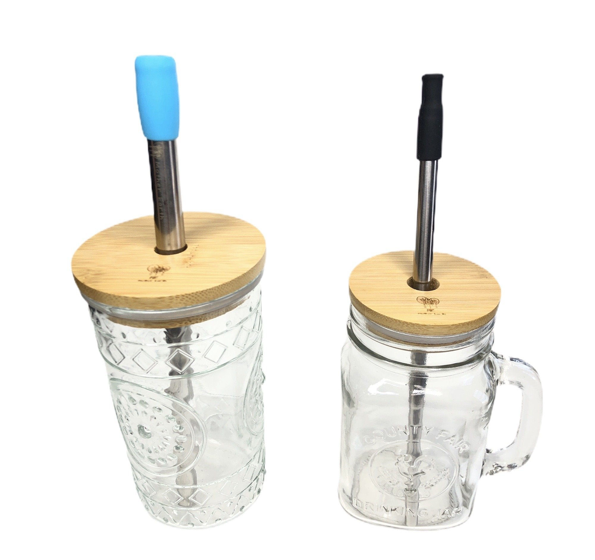 Me Mother Earth bamboo jar lids with mason jars and straws