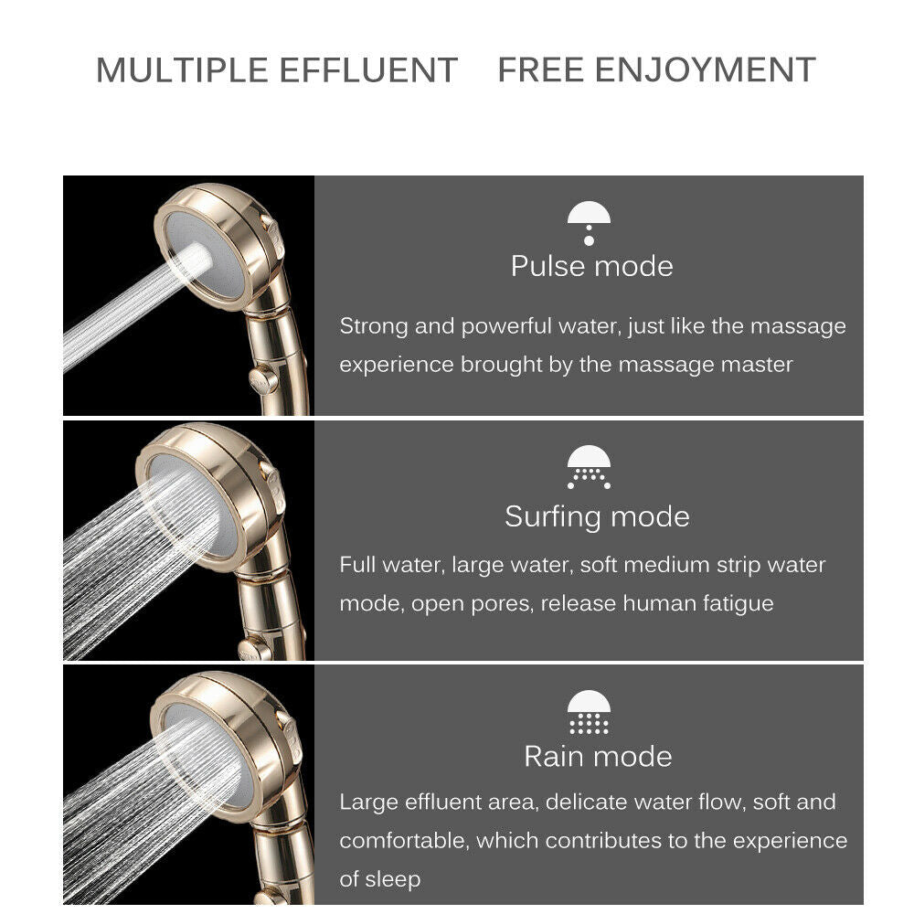 different modes and settings of gold water saving shower head