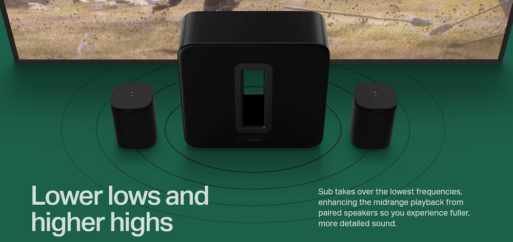 Lower lows and higher highs -  Sub takes over the lowest frequencies, enhancing the midrange playback from paired speakers so you experience fuller, more detailed sound.