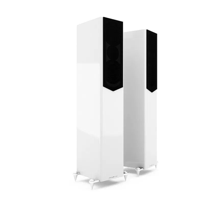 Acoustic Energy AE509 Floorstander Speakers piano white with grille