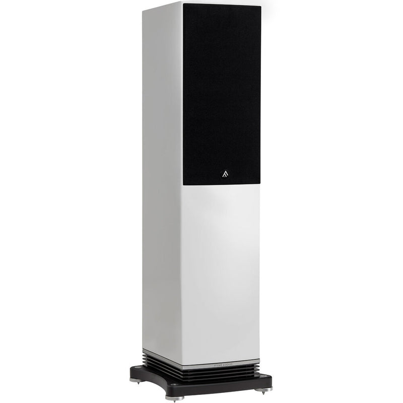Fyne Audio F502 Floorstanding Speakers piano gloss white with grille