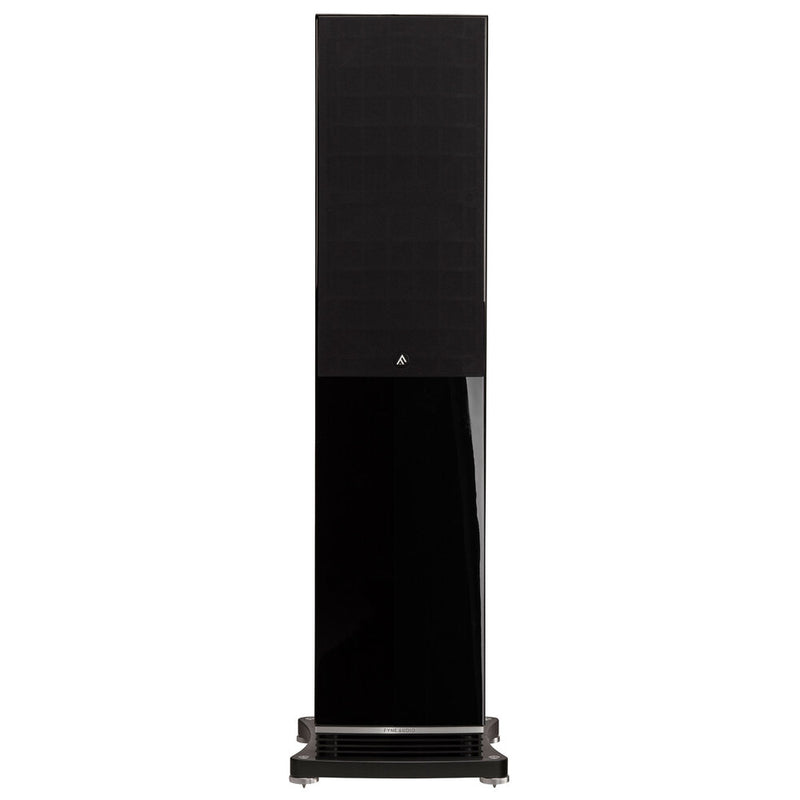 Fyne Audio F502 Floorstanding Speakers piano gloss black with grille front