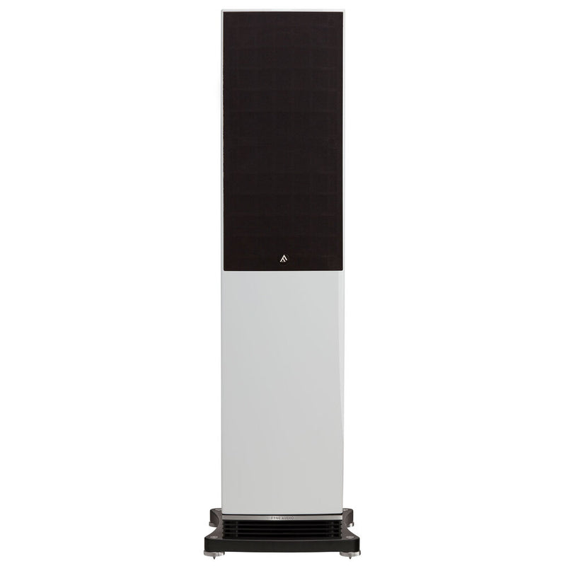 Fyne Audio F502 Floorstanding Speakers piano gloss white with grille front