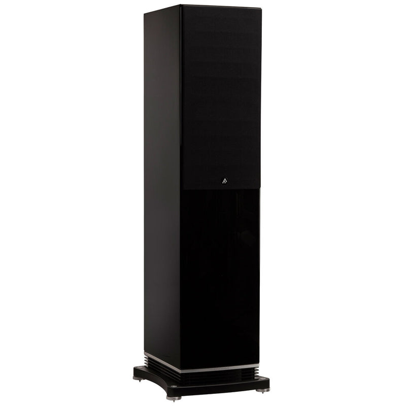 Fyne Audio F502 Floorstanding Speakers piano gloss black with grille