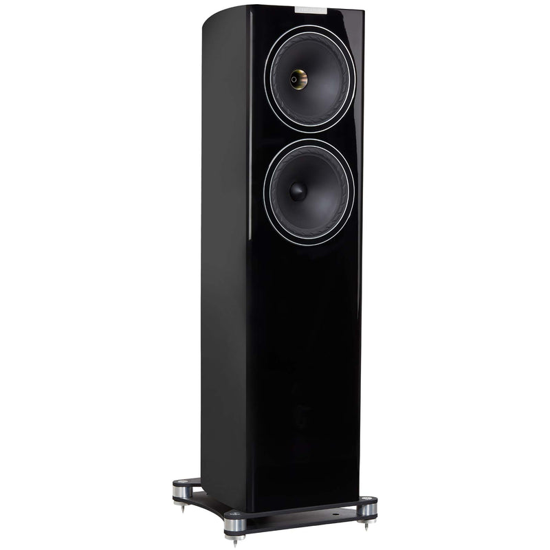 Fyne Audio F702 Floorstanding Speakers (pair) piano gloss black side