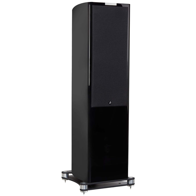 Fyne Audio F702 Floorstanding Speakers (pair) piano gloss black side with grille