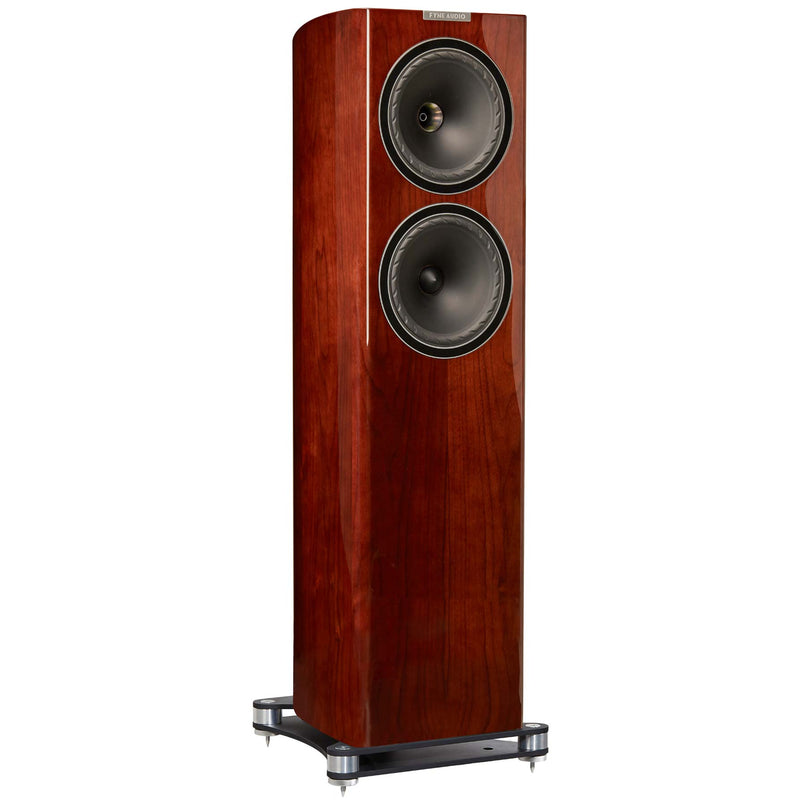 Fyne Audio F702 Floorstanding Speakers (pair) piano gloss walnut side