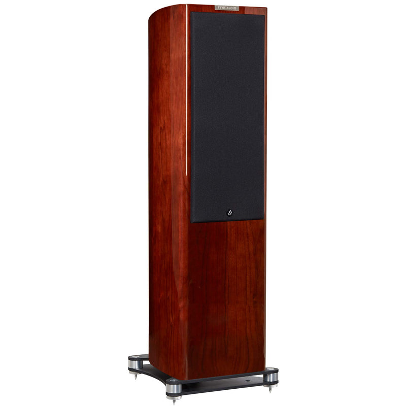 Fyne Audio F702 Floorstanding Speakers (pair) piano gloss walnut with grille side