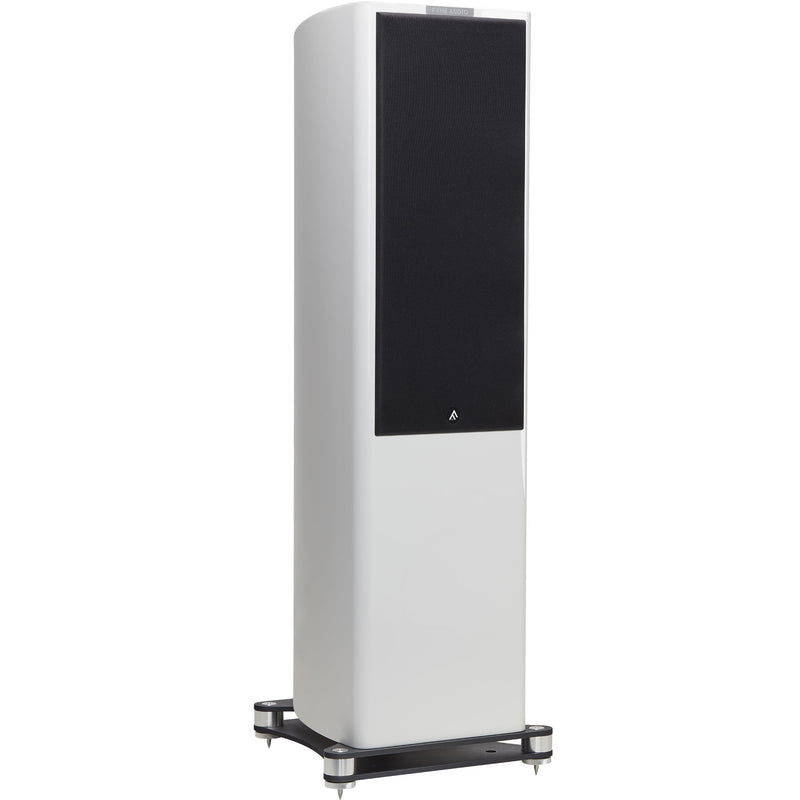 Fyne Audio F702 Floorstanding Speakers (pair) piano gloss white with grille side