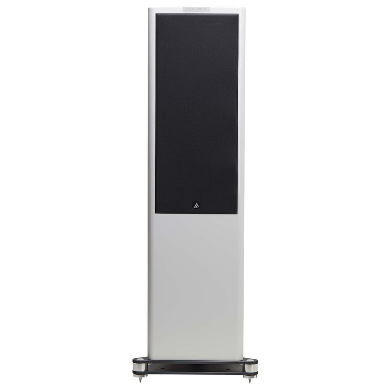 Fyne Audio F702 Floorstanding Speakers (pair) piano gloss white with grille