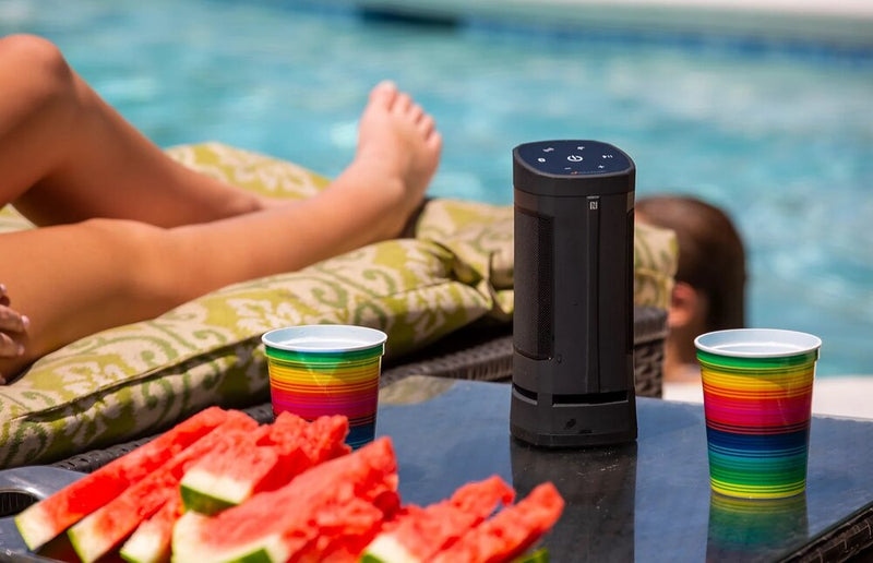 Soundcast VG3 Waterproof Portable Bluetooth Speaker by the pool