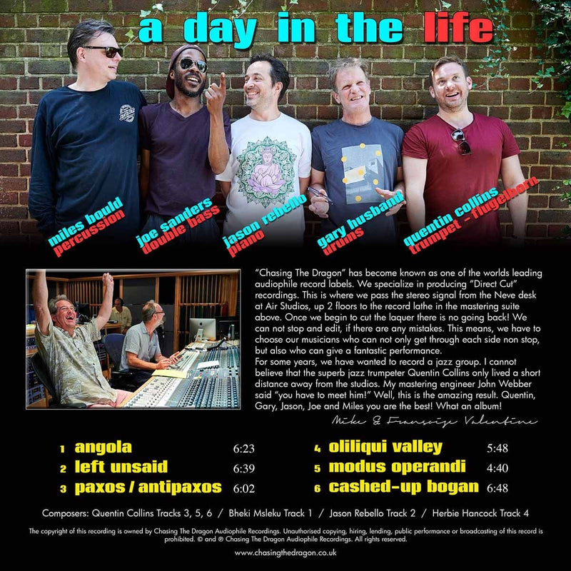 Quentin Collins All Star Quintet - A Day in the Life LP Chasing The Dragon Live Studio Direct Cut Vinyl