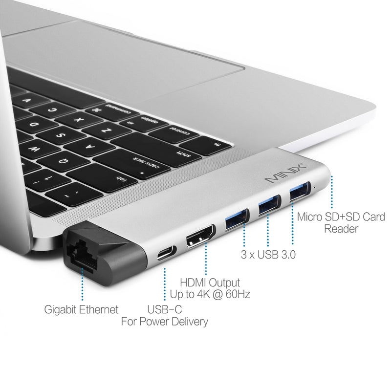 Minix NEO-C-D PRO USB-C Multiport Adapter for MacBook Pro (8 ports)