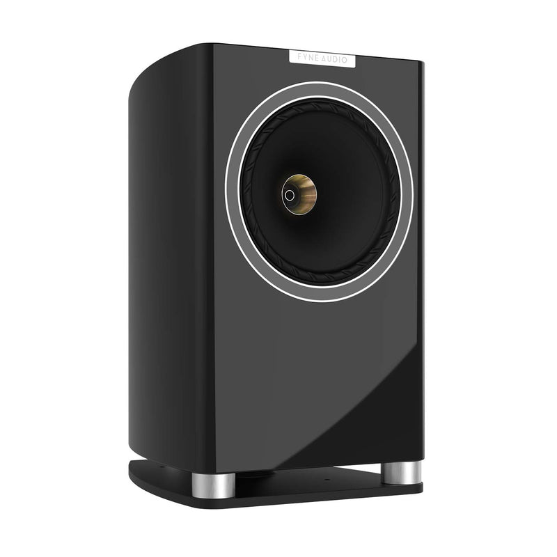 Fyne Audio F701 Bookshelf Speakers with Stands (pair) piano gloss black side