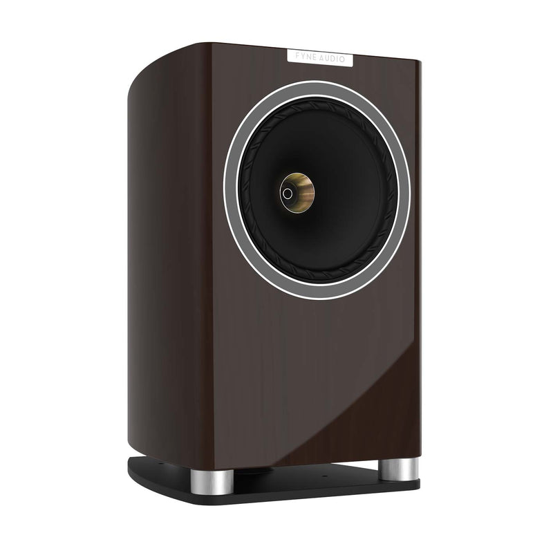 Fyne Audio F701 Bookshelf Speakers with Stands (pair) piano gloss walnut side