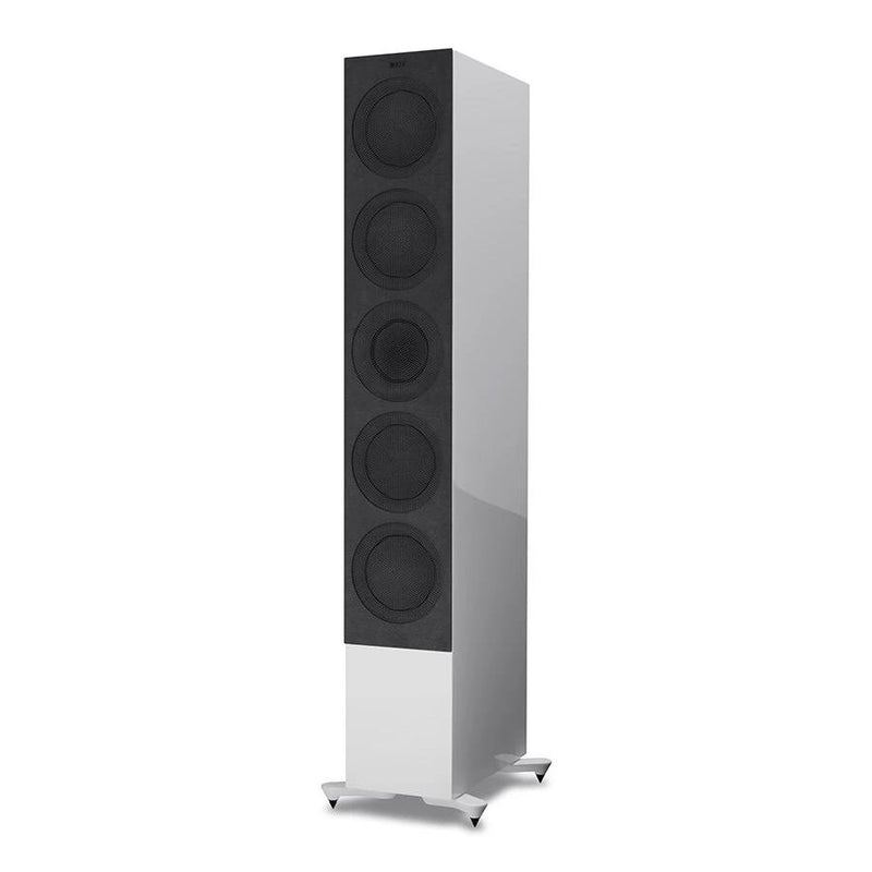 White KEF R11 Flagship Three-way Floorstander with cover