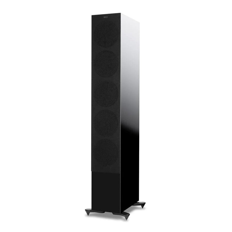 Black KEF R11 Flagship Three-way Floorstander with cover