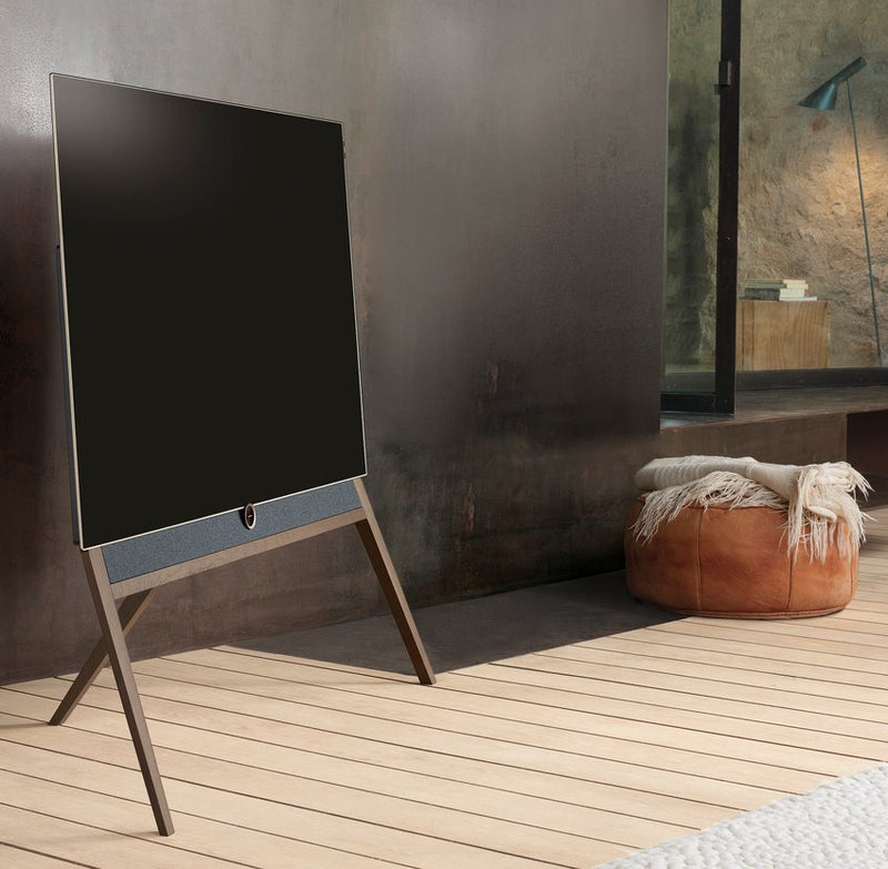 "Loewe bild 5 55"" OLED TV with Silver Oak Floor Stand outdoor"