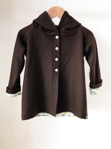 Wool Coat - Chocolate with Autumn Leaves