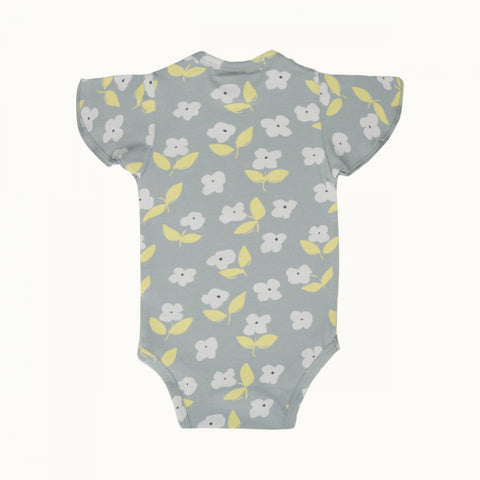 Nature Baby Petal Sleeve Bodysuit Blue Mist