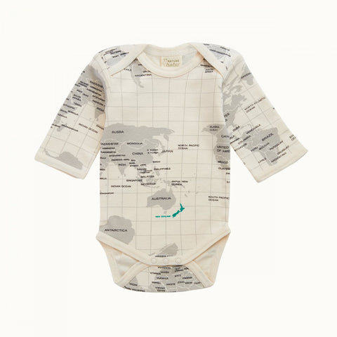 Nature Baby L/S Bodysuit Grey Atlas Print