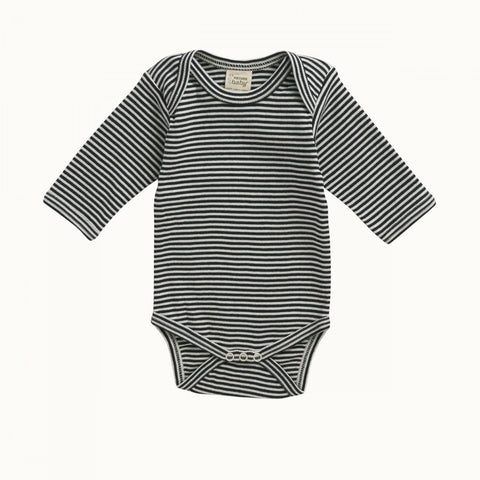 Nature Baby Cotton L/S Bodysuit  - Navy Stripe