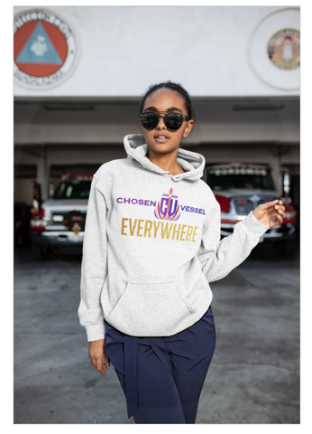 CV Everywhere (Colors) Logo Ladies Hoodie on White