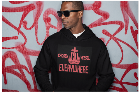 CV Everywhere (Red) Logo Men's Hoodie on Black