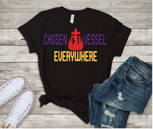 Chosen Vessel Everywhere Logo Tee (Black Shirt)