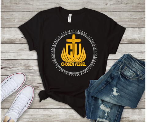 Chosen Vessel Gold Logo with Stones Tee