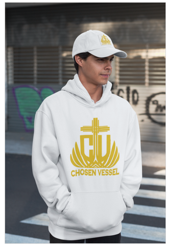 CV (Gold) Logo Men Hoodie/Hat on White