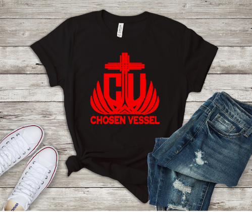 Chosen Vessel Red Logo Tee (Black Shirt)