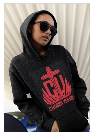 CV (Red) Logo Ladies Hoodie on Black