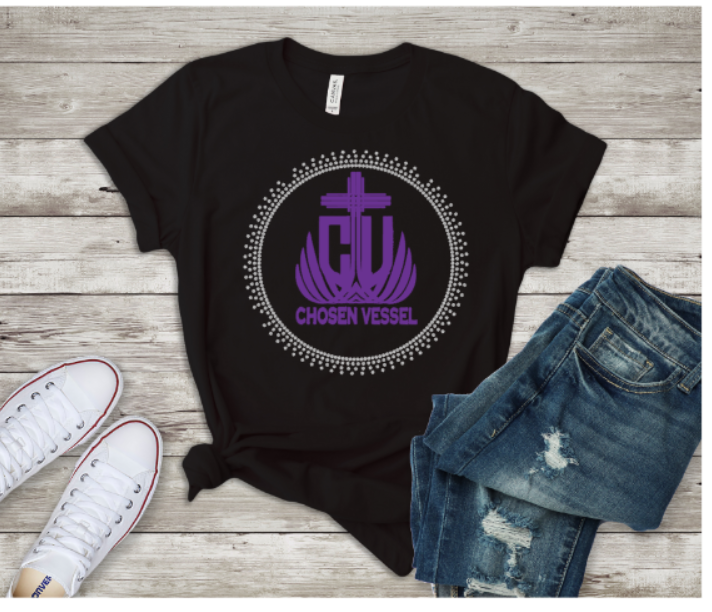 Chosen Vessel Purple Logo with Stones Tee