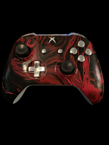 (New) Xbox One Controller Hydro Dipped(Front Only) Black and Red with plastic chrome Buttons   (Sales price as listed)
