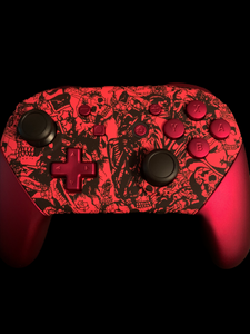 (New) Custom Black and Red Switch Pro Controller Red Plastic Buttons  (Sales price as listed)
