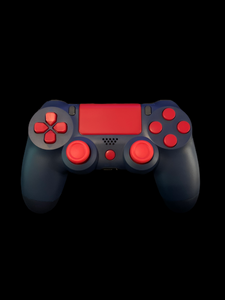 (New) PS4 Midnight Blue Controller with Custom red Plastic Buttons