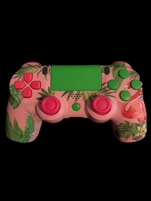(Used) PS4 Controller with a pink and green theme
