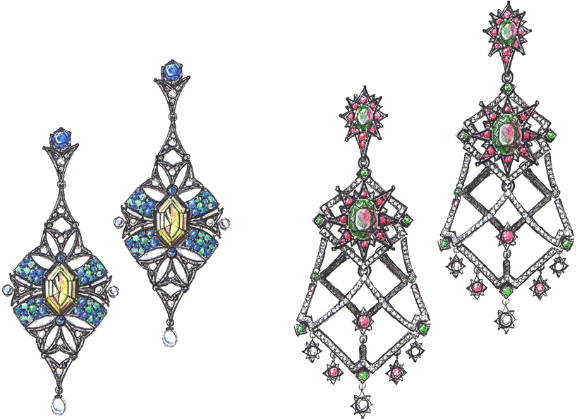 Queensbee Earrings Sketch Divider
