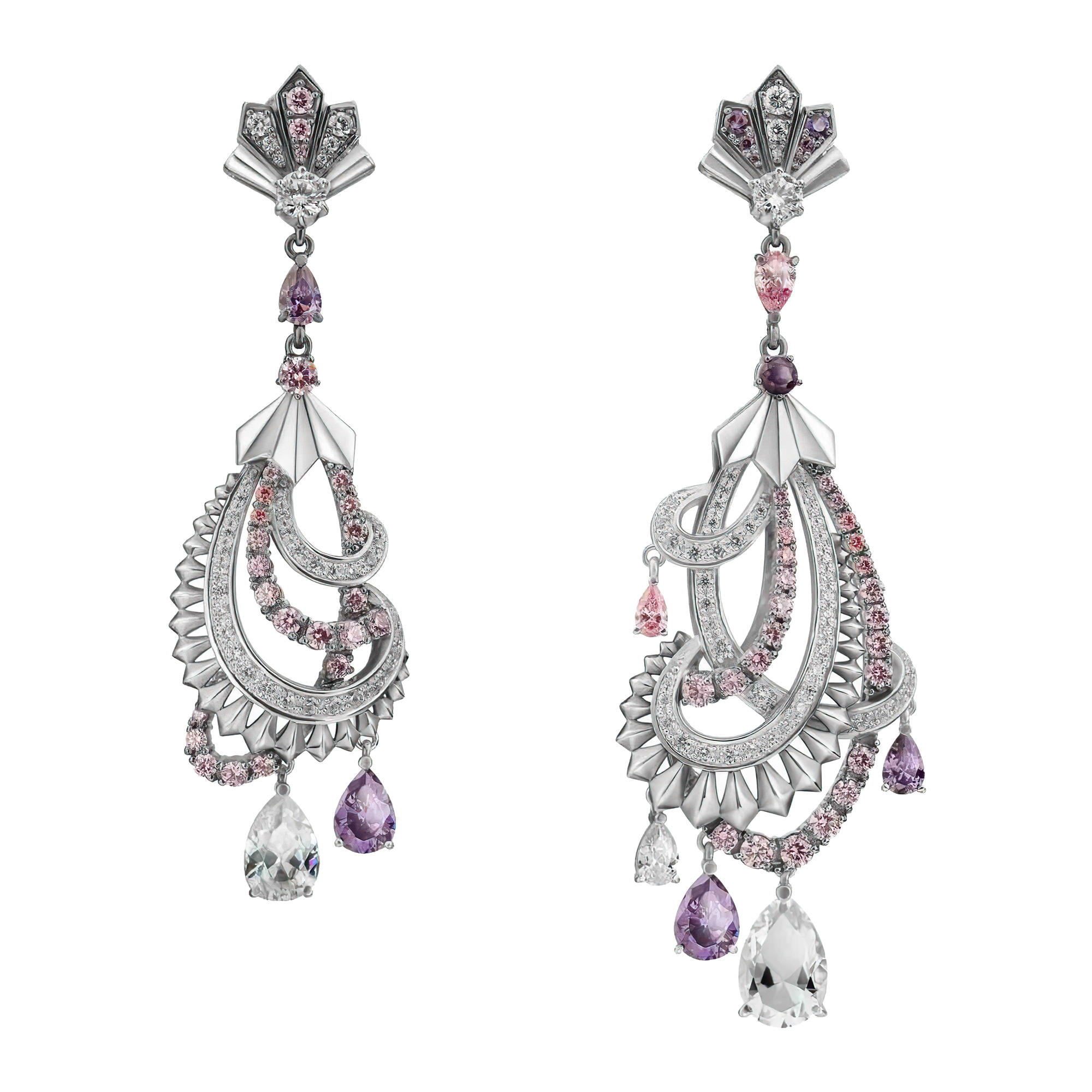 Sterling Silver Deco Peacock Earring