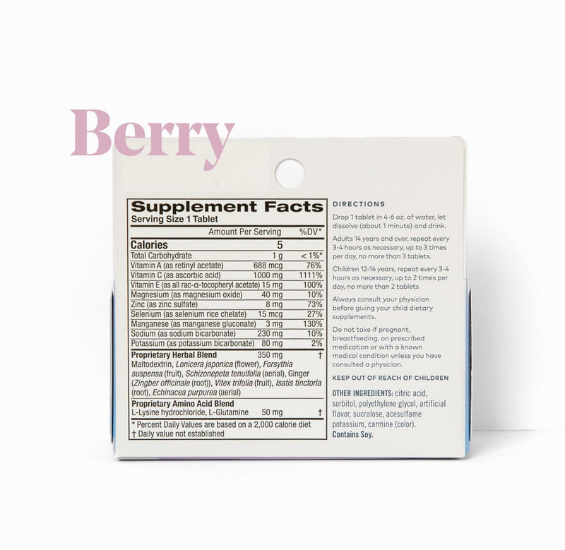 Rise Effervescent Immunity Tablets Berry Flavor