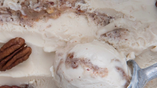 Close up of Booja-Booja caramel pecan praline flavour, vegan and organic ice cream