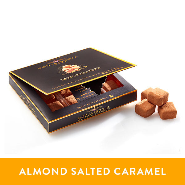Booja-Booja almond salted caramel chocolate truffles in the chilled twelve-pack format