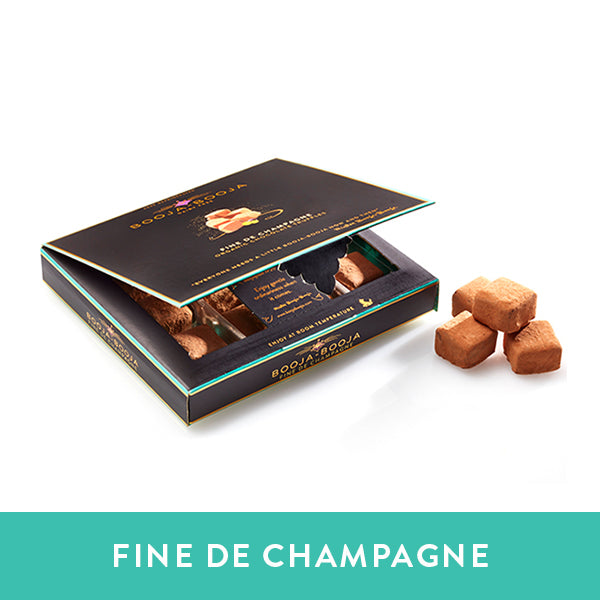 Booja-Booja Fine De Champagne chocolate truffles in the chilled twelve-pack format