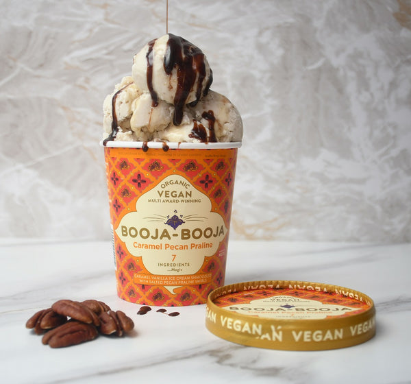 Tub of Booja-Booja caramel pecan praline ice-cream, vegan and organic