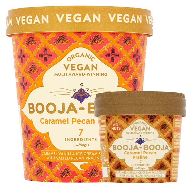 A tub of delicious Booja-Booja vegan and organic Caramel Pecan Praline ice cream
